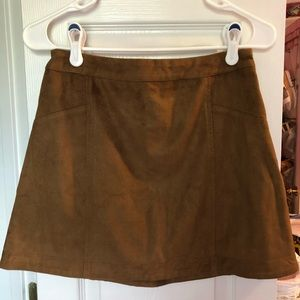 Brown faux suede mini skirt. Size 4